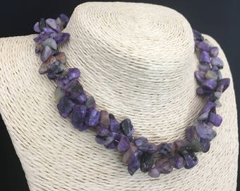 Genuine CHAROITE pebbles necklace and Sterling Silver 925