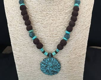 Fantasy necklace coconut beads, lava rock pendant and man-made bronze oxidized
