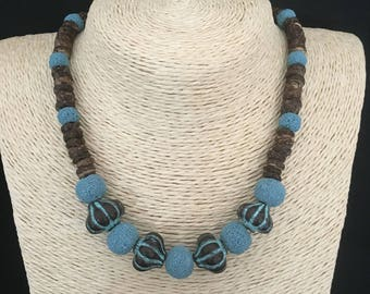 Fantasy necklace coconut beads, lava man-made and pendants bronze oxidized