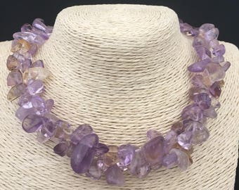 Genuine AMETRINE pebbles necklace and Sterling Silver 925