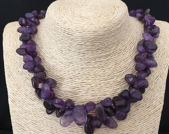 Genuine AMETHYST pebbles necklace and Sterling Silver 925
