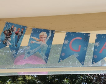 Frozen Birthday Banner, Garland, Bunting, Printable, for Party, Elsa, Anna, Olaf