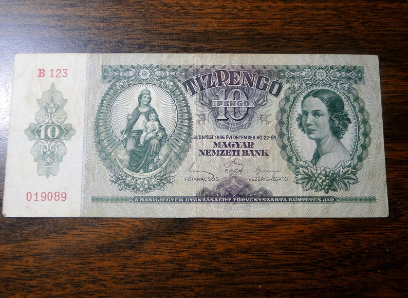 Great Old Note! 1936 Hungary 10 Pengo Note