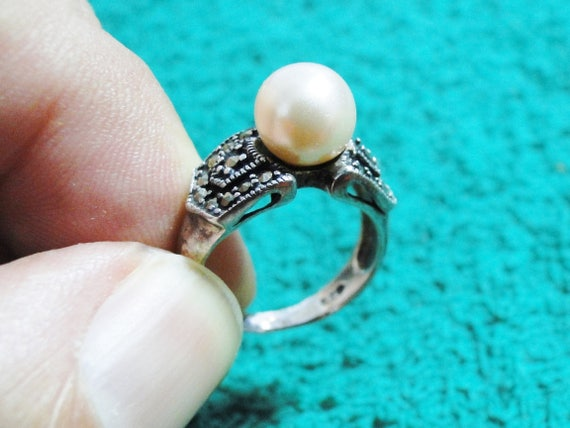 Pearl Sterling Silver Faux Pearl Ring Size 5