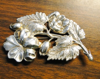 """Beautiful Sterling Silver Floral Brooch - Marked Sterling - 11.5 Grams - 2"""" X 3 1/4"""" -  Quite Lovely!"""