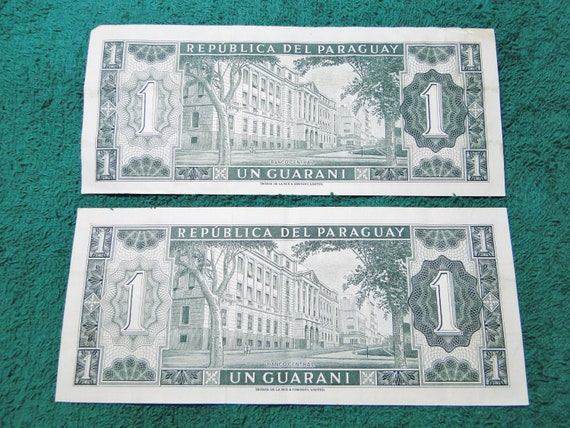 2 Paraguay Un Guarani Notes Note Nice Find