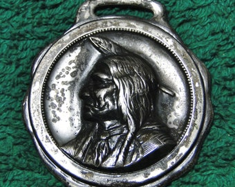 """Lincoln NE Advertising Watch Fob Lincoln NE American Ins Co Indian Watch Fob - 1 1/2"""" X 1 3/4"""" - Silver Tone - Great Find!"""
