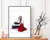 Shoe Addiction- Christian Louboutin, Original Fashion Illustration, Original Artwork, Original shoe art,Fashion art,Fashion wall art