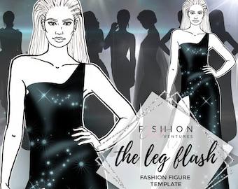 the side curve fashion template fashion illustration etsy