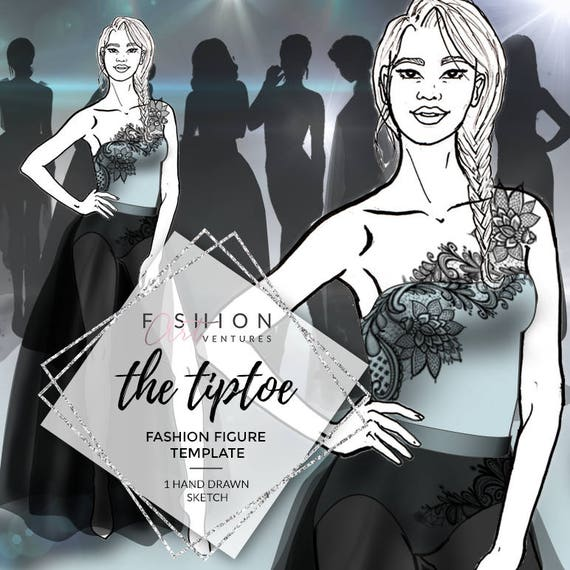 The Tiptoe Fashion Template Fashion Illustration Croquis Etsy
