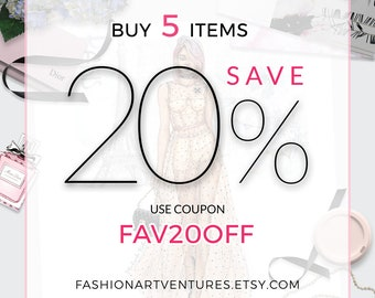 DISCOUNT COUPON: Buy 5 Items Save 20% from Your Purchase! Fashion Figure templates and Custom Artwork
