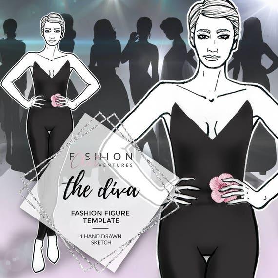 The Diva Fashion Template Fashion Illustration Croquis Etsy