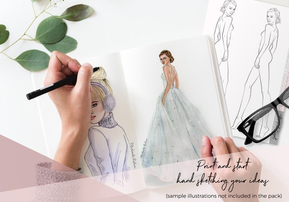 Over The Shoulder Vector Model Printable Fashion Template Etsy