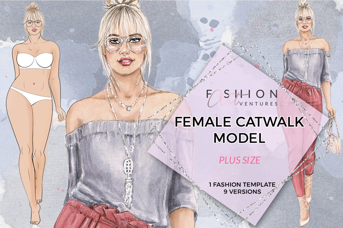plus size female catwalk model printable fashion template etsy