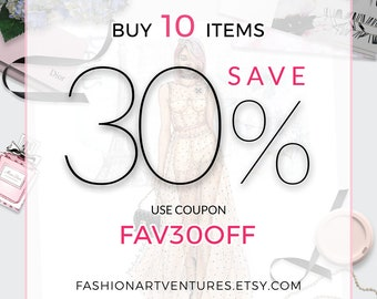 DISCOUNT COUPON: Buy 10 Items Save 30% from Your Purchase! Fashion Figure templates and Custom Artwork