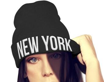 2b8dd3b2606 NEW YORK Beanie Mens Womens Girls Boys Unisex Hat City Geek Dork Street  Beenie Winter Skull EMBROIDERED Custom Embroidery Hat Wooly Tour