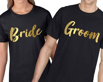 12ba3f26 Bride and Groom T Shirt Set, GOLD, Bridesmaid, Matching Couples T-shirt,  Funny matching T shirts, Honeymoon, Wedding Gift Anniversary 867