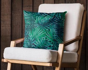GREEN Shades Tropical Palm Tree Leaf Cushion, Garden Cushion, Furniture,  Summer, Paradise, Cushion, Banana Leaf C42