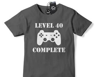 9768185da4 Level 40 Complete Birthday T Shirt, Funny T Shirt, Gaming T Shirt, Gamer, Geek  T Shirt 642