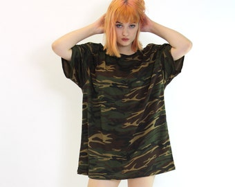 ecbefd2f47168 Camouflage Womens Oversized T Shirt Dress Camo Print Mens Fit Fashion  Choker Dress Kylie T Shirt Tee Camou