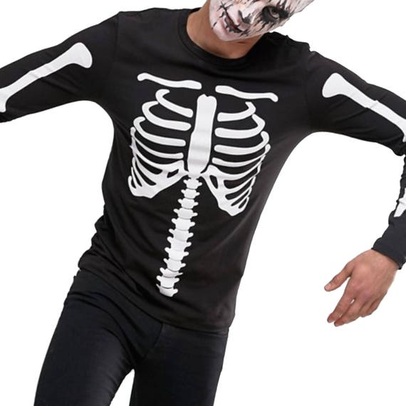 Costume di Halloween, festa di Halloween, Costume di scheletro, scheletro body, costume di Halloween, T Shirt manica lunga