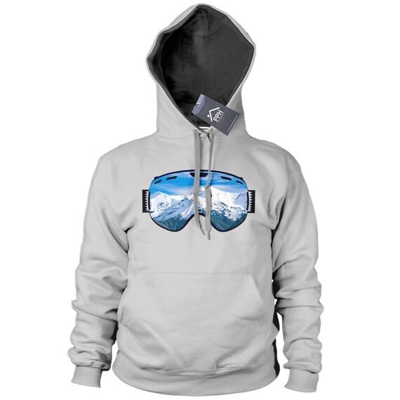 Skiing Snowboarding Kids Childrens Hoodie Hoody Funny Ski Snowboard Goggles