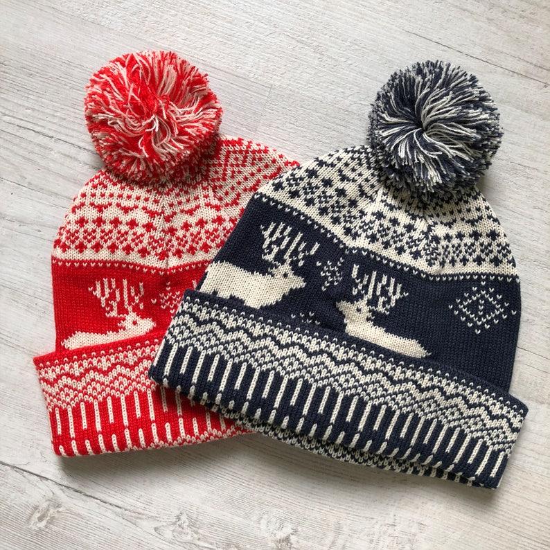 a336393e2 Christmas Bobble Hat, Winter Beanie Hat, Reindeer Pattern, Fair Isle  Pattern, Red Bobble Hat, Holidays, Festive, Santa Claus