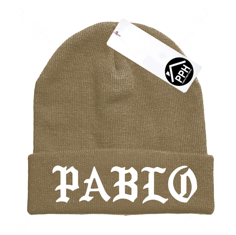 b1e87a038 Pablo Beanie Hat Sand Military Green Beenie Winter Skull EMBROIDERED CUSTOM  EMBROIDERY Hat Wooly Tour Yeezus Hoodie
