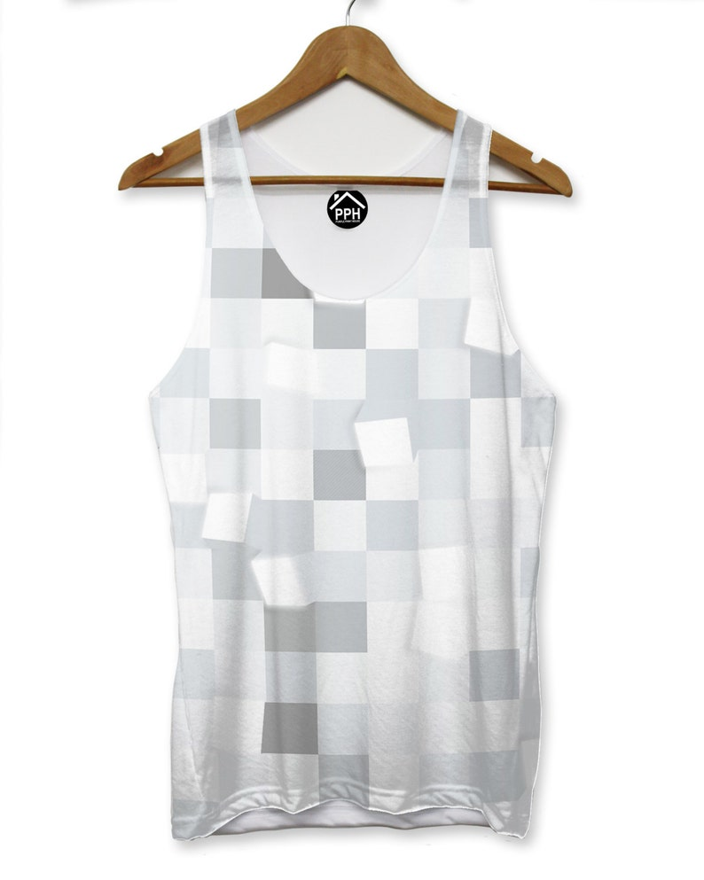 Light Square Grey Abstract VEST Top Tank Man Triangle Hipster Dope Summer PP182
