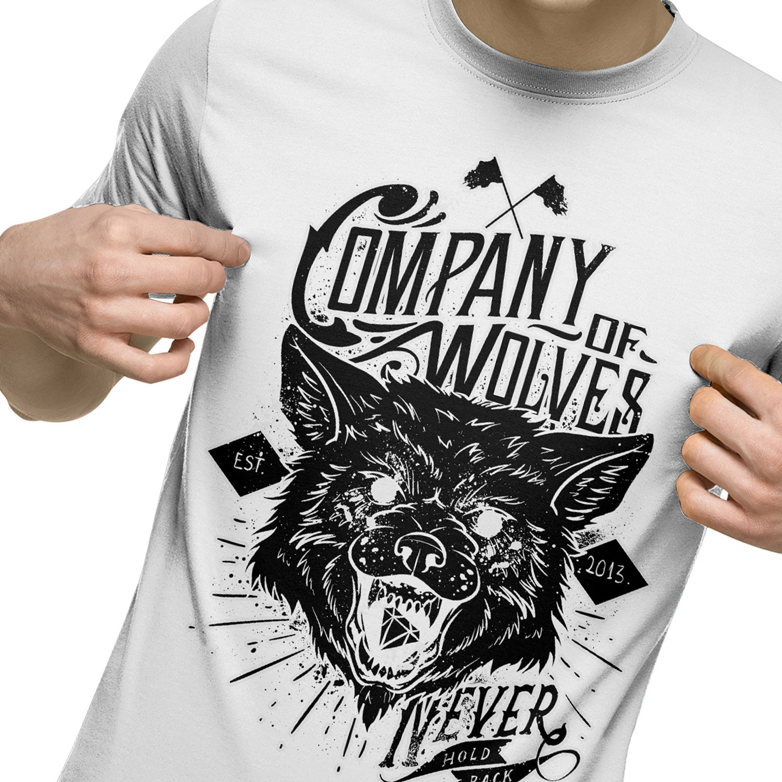 Company of Wolves T Shirt, Animal T Shirt , Wolf, Wildlife, Mens Fashion T Shirt, Hipster, Motorcycle Biker White T Shirt A17