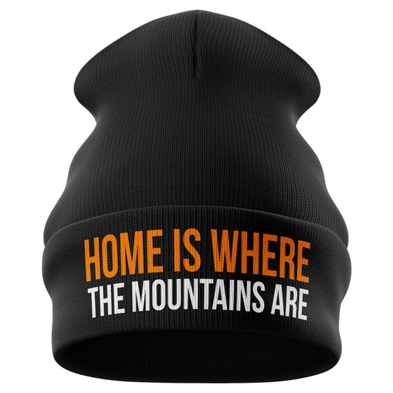 Skiing Gifts Home is where the Mountains Are Funny Beanie  49e3d8c3193