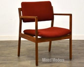 Walnut Domore Red Lounge Chair