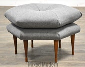 Grey Hexagonal Ottoman by Selig