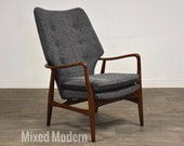 Aksel Madsen Bender Danish Modern Grey Lounge Chair
