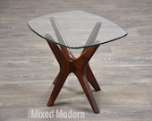 Adrian Pearsall Jacks Walnut and Glass End Table