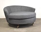 Adrian Pearsall Craft Associates Walnut Grey Lounge Chair