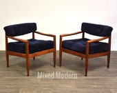 Adrian Pearsall Navy Blue Lounge Chairs - A Pair