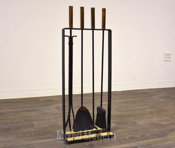 Modernist Iron And Brass Fireplace Tool Set Etsy