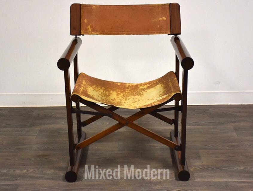 Rosewood Leather Foldable Campaign, Folding Leather Campaign Chair