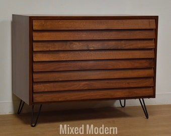 American of Martinsville Walnut Louvered Dresser