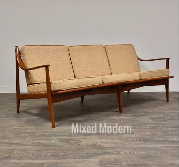 Italian Beige Mid Century Modern Sofa