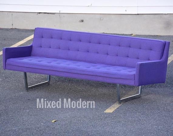 Modern Chrome & Purple Sofa by Patrician