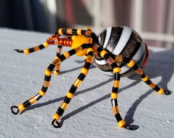 Beaded Spider, Seed Beads, Wire, Black, Orange, Halloween