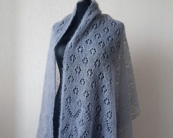 Knitted grey mohair silk shawl, Knit grey lace stole , Evening shawls wraps, Wedding shawl, Mother Day Gift, Gift for women, knit lace shawl