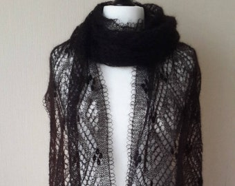 Hand knit black mohair shawl, Evening shawl wrap, Black mohair shawl, Lace knit shawl, Knit scarf, Knitted stole, Gift for women