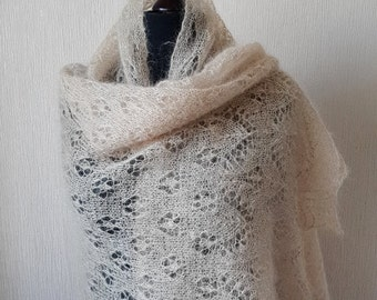 Knitted lace stole , Evening shawl wraps, Knit mohair beige shawl, Wedding shawl, Mother Day Gift, Gift for women, hand knitted lace shawl
