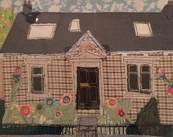 Personalised Textile Appliqué House Portrait