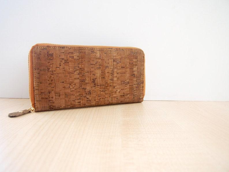 6903b4fc97dcc Dunklen Kork lange Brieftasche Damen Clutch Geldbörse mit