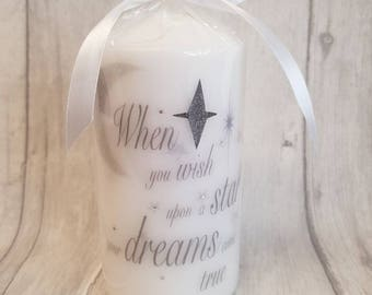 When you wish upon a star printed pillar candle