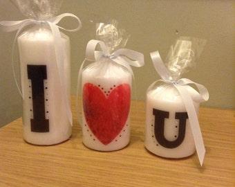 Hand printed I (heart) you candle set